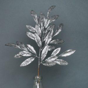 Glittered Bay leaf spray
